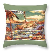 Old Man In The Boat Throw Pillow