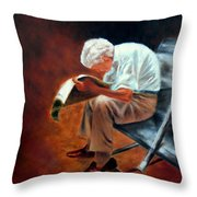 Old Man Reading Throw Pillow