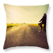 Old Man Riding A Bike To Sunny Sunset Sky Throw Pillow