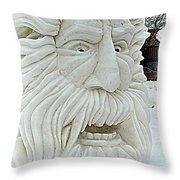 Old Man Winter Snow Sculpture Throw Pillow