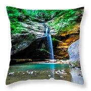 Old Mans Cave Lower Falls Throw Pillow