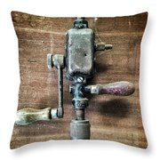 Old Manual Drill Throw Pillow