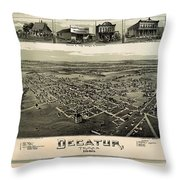 Old Map Of Decatur Texas 1890 Throw Pillow