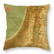 Old Map Of The Holy Land Throw Pillow