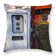 Old Marathon Gas Pump Throw Pillow
