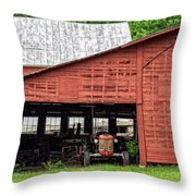 Old Massey Ferguson Red Tractor In Barn Throw Pillow
