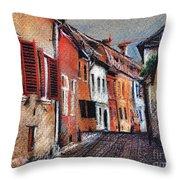 Old Medieval Street In Sighisoara Citadel Romania Throw Pillow