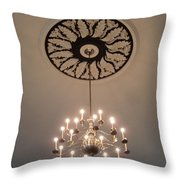 Old Meeting House Chandelier Throw Pillow