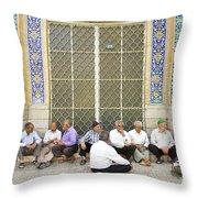 Old Men Socializing In Yazd Iran Throw Pillow