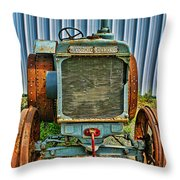 Old Metal Wheeled Tractor Hdr Throw Pillow