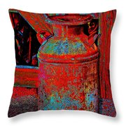 Old Milk Pail Pop Art Throw Pillow