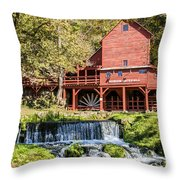 Old Mill And Waterfall Throw Pillow