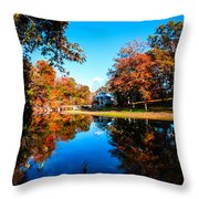 Old Mill House Pond In Autumn Fine Art Photograph Print With Vibrant Fall Colors Throw Pillow
