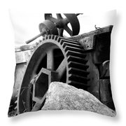 Old Mill Of Guilford Gears Black And White Throw Pillow