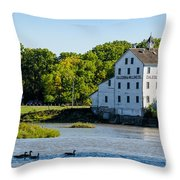 Old Mill On Grand River In Caledonia In Ontario Throw Pillow