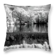 Old Mill Pond In Infrared Throw Pillow