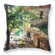 Old Mill Stream I Throw Pillow