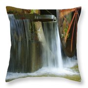 Old Mill Water Wheel Throw Pillow