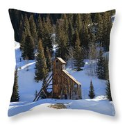 Old Mine Building Throw Pillow