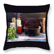 Old Miners Outdoor Kitchen Table Still Life Throw Pillow