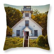 Old Mission Point Light House 02 Throw Pillow