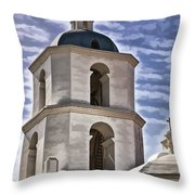 Old Mission San Luis Rey Tower - California Throw Pillow