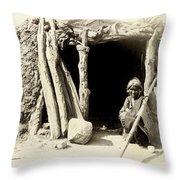 Old Navajo At His Hogan Throw Pillow