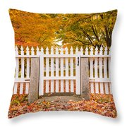 Old New England White Picket Fence Throw Pillow