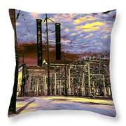 Old New Orleans Electric Plant Throw Pillow
