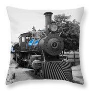 Old No. 7 Black White And Blue Throw Pillow