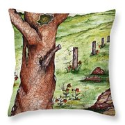 Old Oak Tree With Birds' Nest Throw Pillow