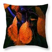 Old Orange Leaves Throw Pillow