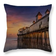 Old Orchard Beach Pier Sunset Throw Pillow by Susan Candelario