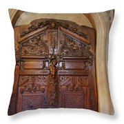 Old Ornamented Door Throw Pillow
