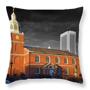 Old Otterbein U M C Selective Color Throw Pillow