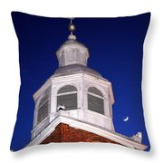 Old Otterbein Umc Moon And Bell Tower Throw Pillow
