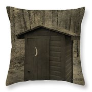 Old Outhouse Out Back Throw Pillow