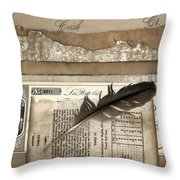 Old Papers And A Feather Throw Pillow by Carol Leigh