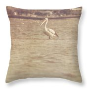 Old Pelican Photograph Throw Pillow