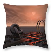 Old Pier And Sculptures Throw Pillow