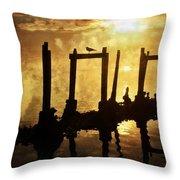 Old Pier At Sunset Throw Pillow