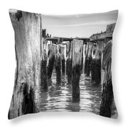 Old Pier In Provincetown Cape Cod Throw Pillow