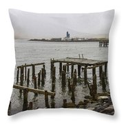 Old Pier In Siglufjordur Throw Pillow