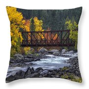 Old Pipeline Bridge Throw Pillow