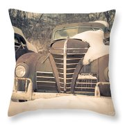 Old Plymouth Classic Car In The Snow Throw Pillow