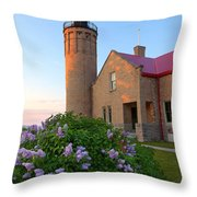 Old Point Mackinac Lighthouse And Lilacs Throw Pillow