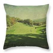 Old Postcard Of Golf Buddies At The Homestead Throw Pillow