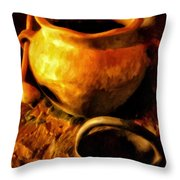 Old Pot And Ladle Throw Pillow