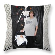 Old Pregnant Lady With A Baby Throw Pillow