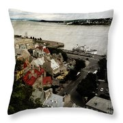 Old Quebec City By St.lawrence Throw Pillow